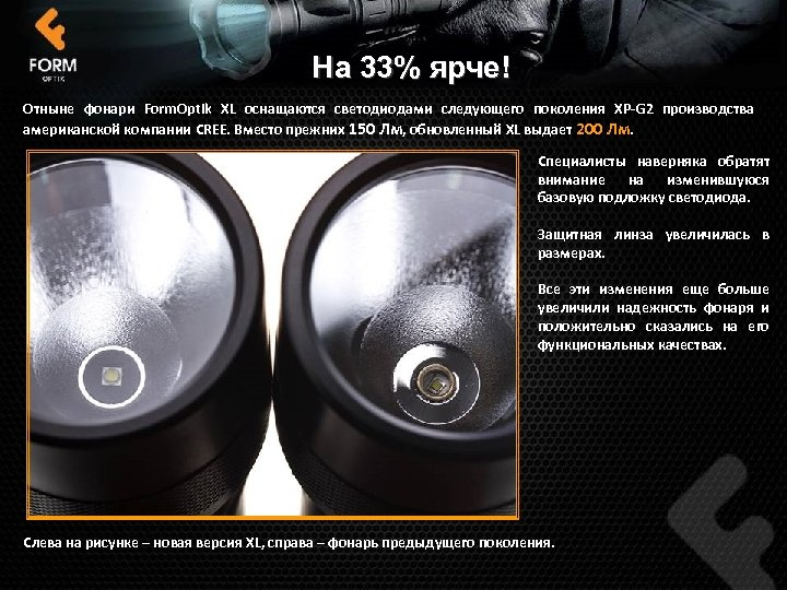 На 33% ярче! Отныне фонари Form. Optik XL оснащаются светодиодами следующего поколения XP-G 2