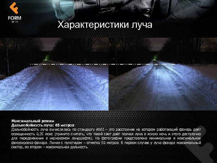 Характеристики луча Максимальный режим Дальнобойность луча: 65 метров Дальнобойность луча вычислялась по стандарту ANSI
