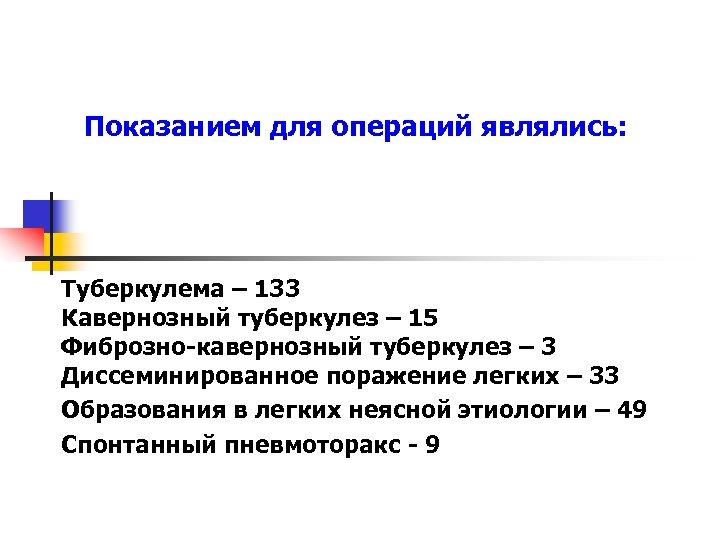 Показанием для операций являлись: Туберкулема – 133 Кавернозный туберкулез – 15 Фиброзно-кавернозный туберкулез –