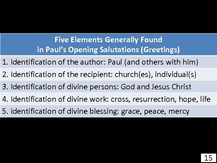 Five Elements Generally Found in Paul's Opening Salutations (Greetings) 1. Identification of the author:
