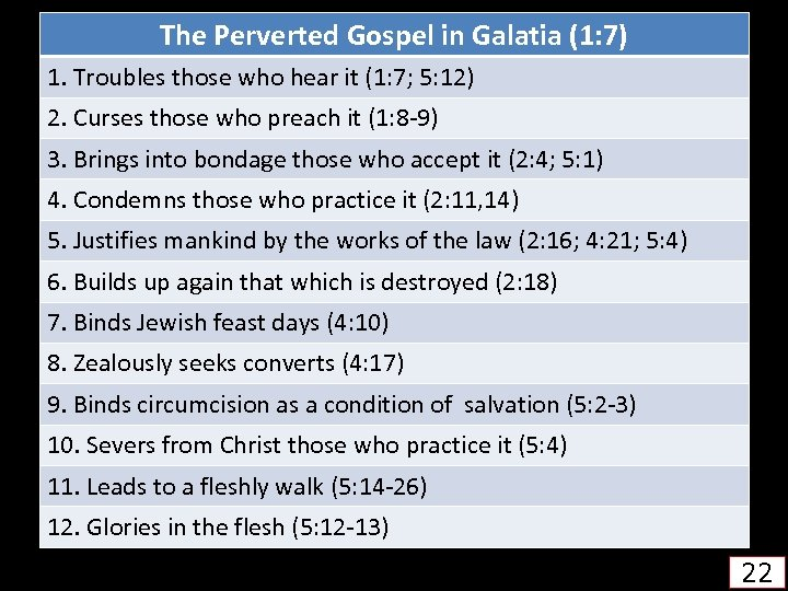 The Perverted Gospel in Galatia (1: 7) 1. Troubles those who hear it (1: