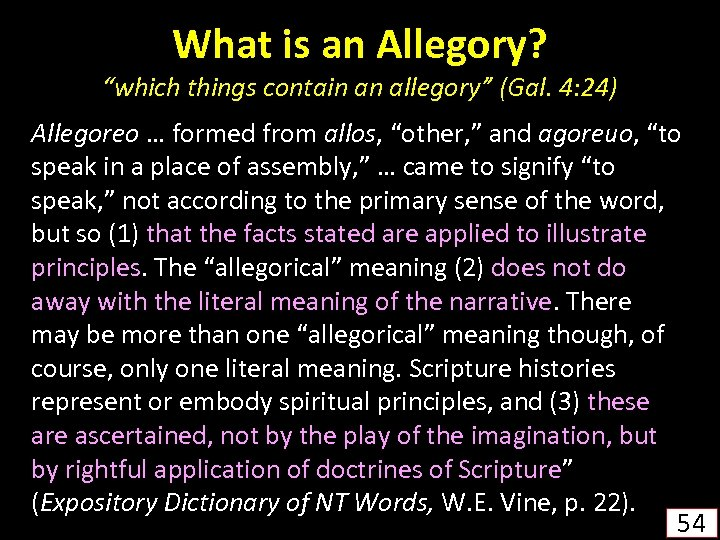 """What is an Allegory? """"which things contain an allegory"""" (Gal. 4: 24) Allegoreo …"""