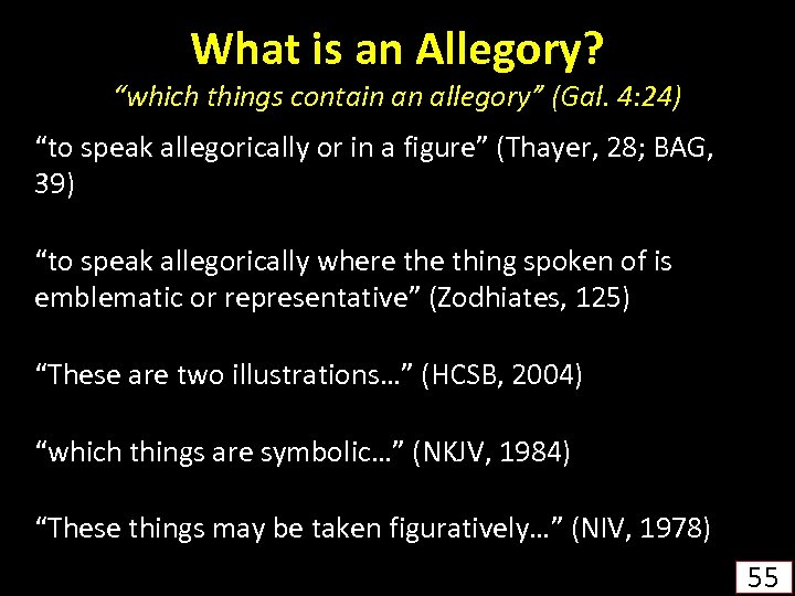 """What is an Allegory? """"which things contain an allegory"""" (Gal. 4: 24) """"to speak"""