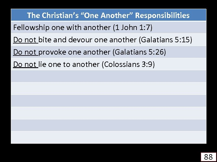 """The Christian's """"One Another"""" Responsibilities Fellowship one with another (1 John 1: 7) Do"""