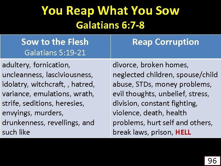 You Reap What You Sow Galatians 6: 7 -8 Sow to the Flesh Galatians