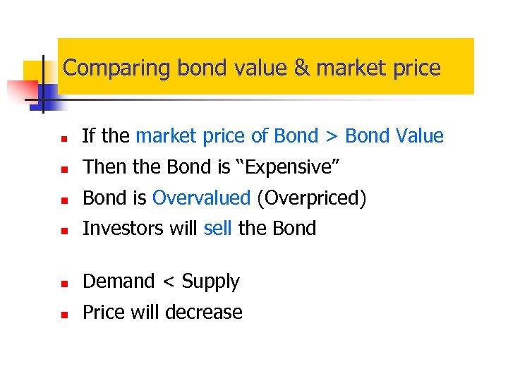 Comparing bond value & market price n If the market price of Bond >