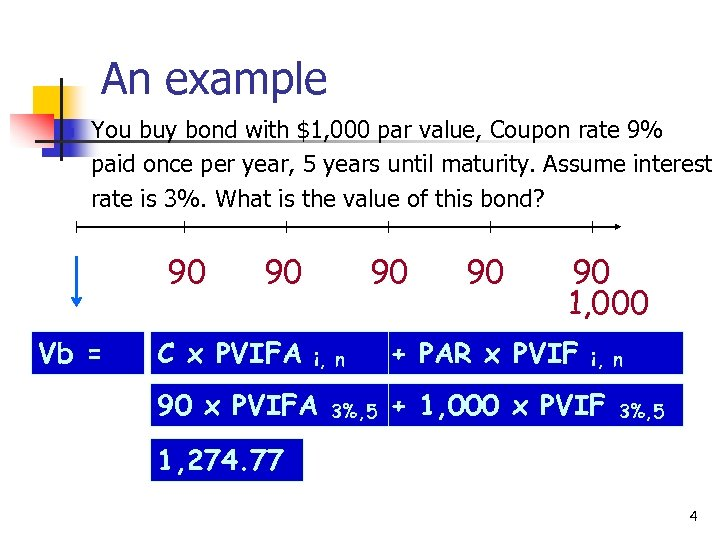An example n You buy bond with $1, 000 par value, Coupon rate 9%