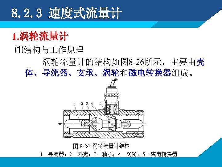 8. 2. 3 速度式流量计 1. 涡轮流量计 ⑴结构与 作原理 涡轮流量计的结构如图 8 -26所示,主要由壳 体、导流器、支承、涡轮和磁电转换器组成。