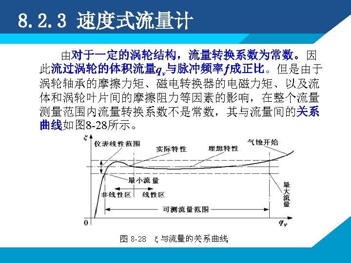 8. 2. 3 速度式流量计 由对于一定的涡轮结构,流量转换系数为常数。因 此流过涡轮的体积流量qv与脉冲频率 成正比。但是由于 涡轮轴承的摩擦力矩、磁电转换器的电磁力矩、以及流 体和涡轮叶片间的摩擦阻力等因素的影响,在整个流量 测量范围内流量转换系数不是常数,其与流量间的关系 曲线如图 8 -28所示。