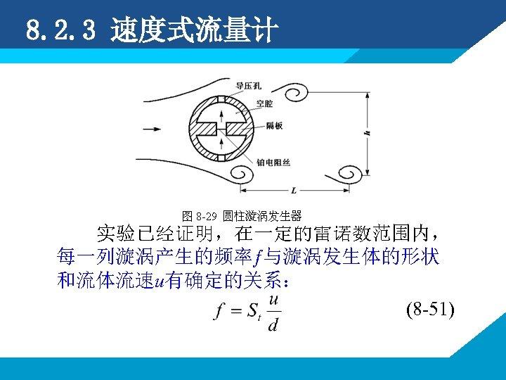 8. 2. 3 速度式流量计 实验已经证明,在一定的雷诺数范围内, 每一列漩涡产生的频率ƒ与漩涡发生体的形状 和流体流速u有确定的关系: (8 -51)