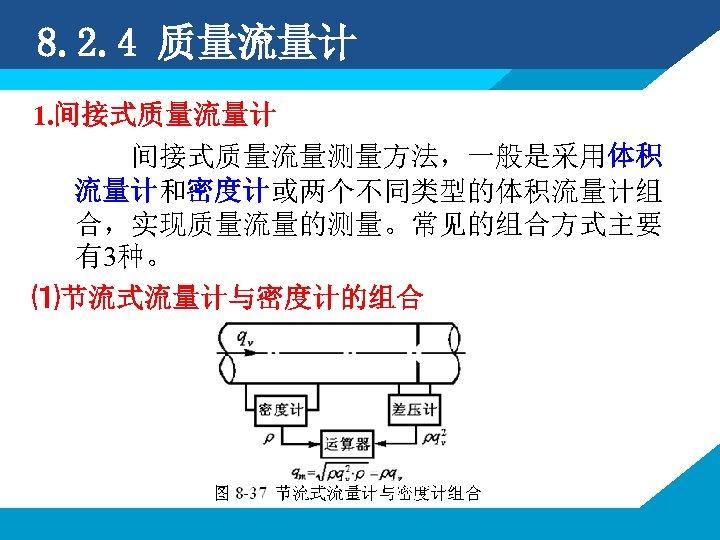8. 2. 4 质量流量计 1. 间接式质量流量计 间接式质量流量测量方法,一般是采用体积 流量计和密度计或两个不同类型的体积流量计组 合,实现质量流量的测量。常见的组合方式主要 有3种。 ⑴节流式流量计与密度计的组合