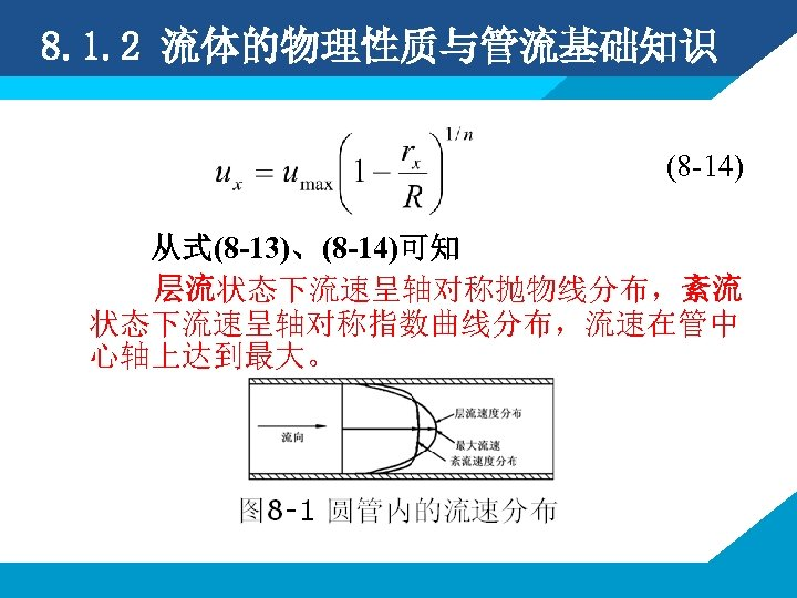 8. 1. 2 流体的物理性质与管流基础知识 (8 -14) 从式(8 -13)、(8 -14)可知 层流状态下流速呈轴对称抛物线分布,紊流 状态下流速呈轴对称指数曲线分布,流速在管中 心轴上达到最大。