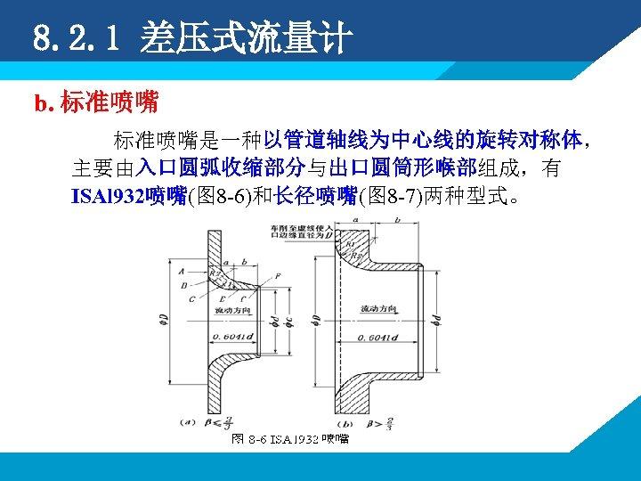 8. 2. 1 差压式流量计 b. 标准喷嘴是一种以管道轴线为中心线的旋转对称体, 主要由入口圆弧收缩部分与出口圆筒形喉部组成,有 ISAl 932喷嘴(图 8 -6)和长径喷嘴(图 8 -7)两种型式。