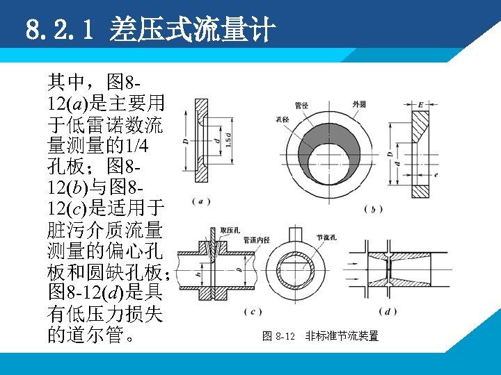 8. 2. 1 差压式流量计 其中,图 812(a)是主要用 于低雷诺数流 量测量的1/4 孔板;图 812(b)与图 812(c)是适用于 脏污介质流量 测量的偏心孔 板和圆缺孔板;