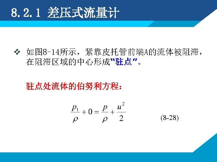 """8. 2. 1 差压式流量计 v 如图 8 -14所示,紧靠皮托管前端A的流体被阻滞, 在阻滞区域的中心形成""""驻点""""。 驻点处流体的伯努利方程: (8 -28)"""