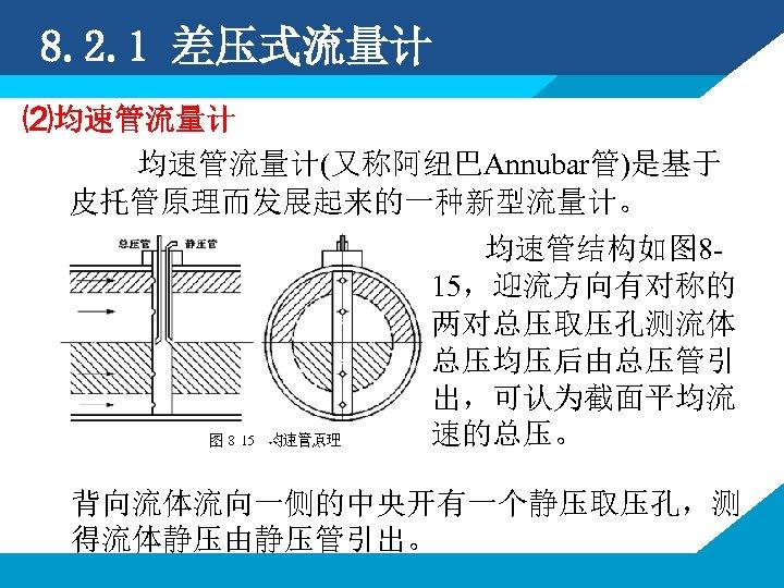 8. 2. 1 差压式流量计 ⑵均速管流量计 均速管流量计(又称阿纽巴Annubar管)是基于 皮托管原理而发展起来的一种新型流量计。 均速管结构如图 815,迎流方向有对称的 两对总压取压孔测流体 总压均压后由总压管引 出,可认为截面平均流 速的总压。 背向流体流向一侧的中央开有一个静压取压孔,测