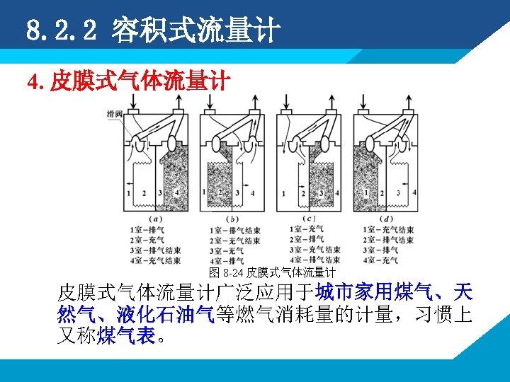 8. 2. 2 容积式流量计 4. 皮膜式气体流量计广泛应用于城市家用煤气、天 然气、液化石油气等燃气消耗量的计量,习惯上 又称煤气表。