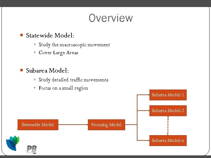 Overview Statewide Model: Study the macroscopic movement Cover Large Areas Subarea Model: Study detailed