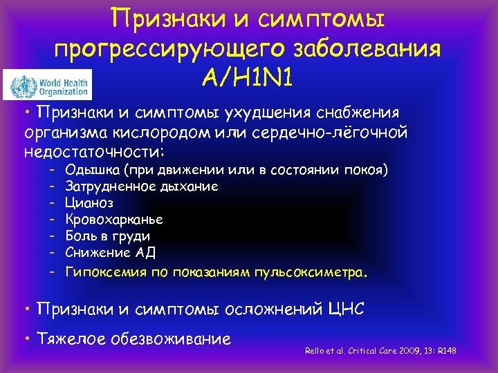Признаки и симптомы прогрессирующего заболевания А/H 1 N 1 • Признаки и симптомы ухудшения