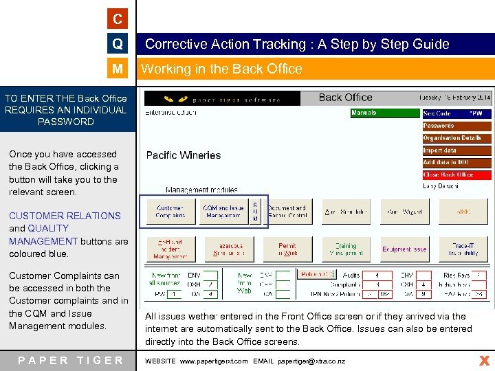 C Q Corrective Action Tracking : A Step by Step Guide M Working in