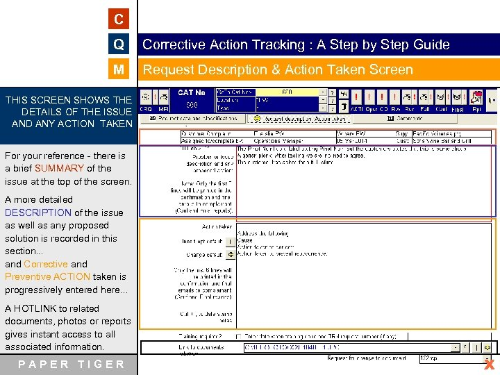 C Q Corrective Action Tracking : A Step by Step Guide M Request Description