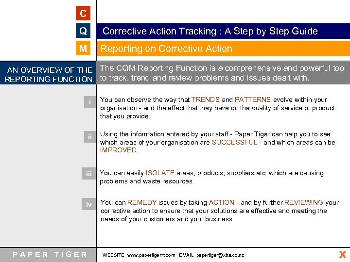 C Q Corrective Action Tracking : A Step by Step Guide M Reporting on
