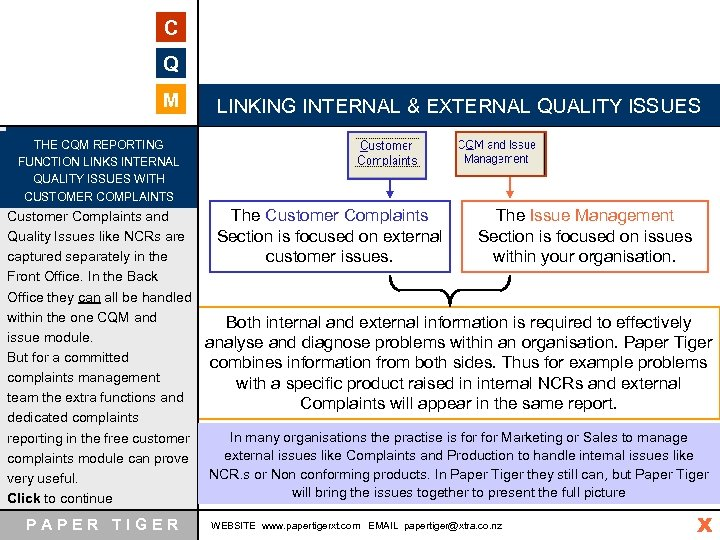 C Q M LINKING INTERNAL & EXTERNAL QUALITY ISSUES THE CQM REPORTING FUNCTION LINKS