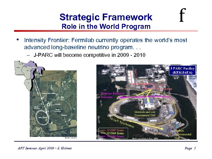 Strategic Framework Role in the World Program • f Intensity Frontier: Fermilab currently operates