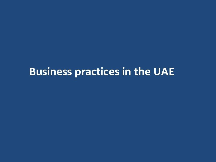 Business practices in the UAE