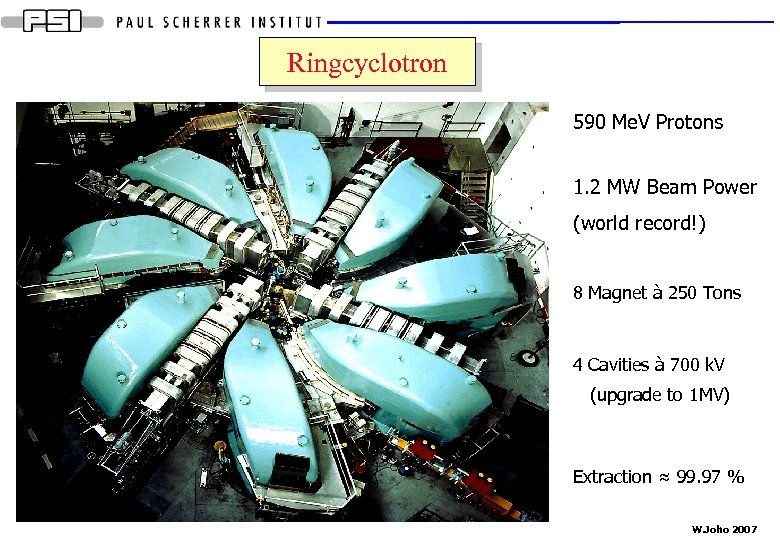 Ringcyclotron 590 Me. V Protons 1. 2 MW Beam Power (world record!) 8 Magnet