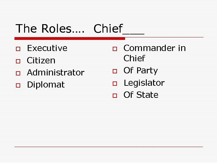 The Roles…. Chief___ o o Executive Citizen Administrator Diplomat o o Commander in Chief