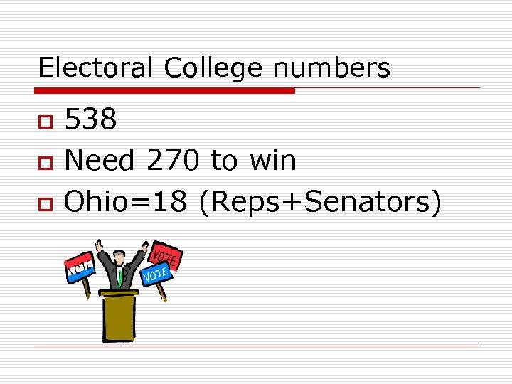 Electoral College numbers o o o 538 Need 270 to win Ohio=18 (Reps+Senators)
