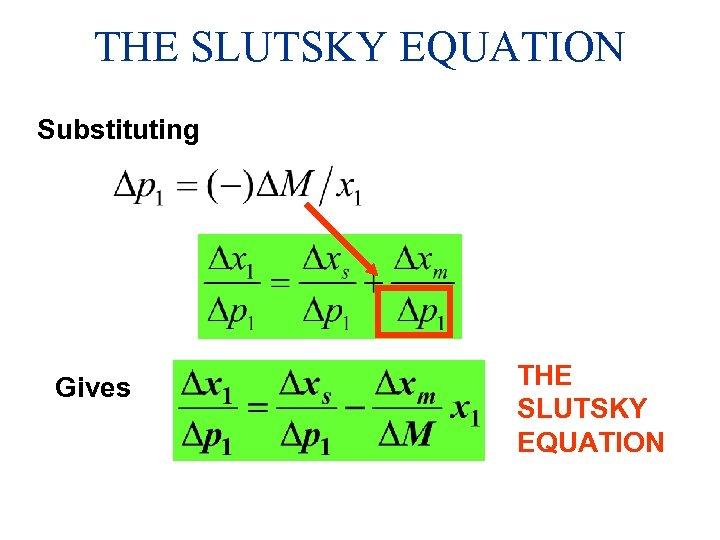 THE SLUTSKY EQUATION Substituting Gives THE SLUTSKY EQUATION