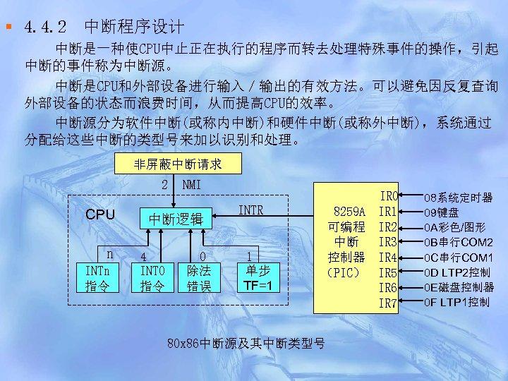 § 4. 4. 2 中断程序设计 中断是一种使CPU中止正在执行的程序而转去处理特殊事件的操作,引起 中断的事件称为中断源。 中断是CPU和外部设备进行输入/输出的有效方法。可以避免因反复查询 外部设备的状态而浪费时间,从而提高CPU的效率。 中断源分为软件中断(或称内中断)和硬件中断(或称外中断),系统通过 分配给这些中断的类型号来加以识别和处理。 非屏蔽中断请求 2 CPU