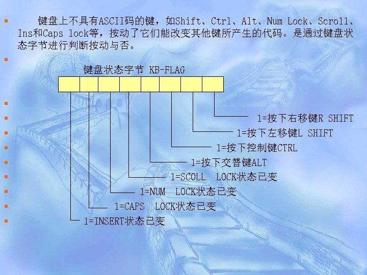 § § § 键盘上不具有ASCII码的键,如Shift、Ctrl、Alt、Num Lock、Scro 11、 Ins和Caps lock等,按动了它们能改变其他键所产生的代码。是通过键盘状 态字节进行判断按动与否。 键盘状态字节 KB-FLAG 1=按下右移键R SHIFT 1=按下左移键L