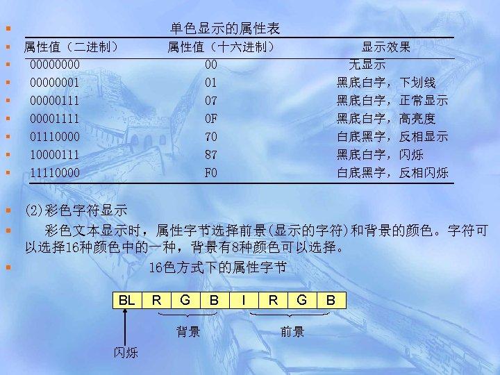 § § § § § 单色显示的属性表 属性值(二进制) 00000001 000001111 01110000111 11110000 属性值(十六进制) 00 01