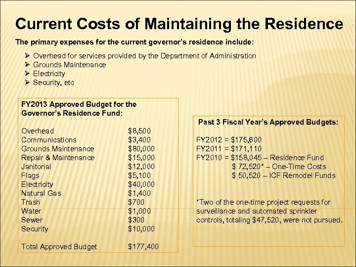Current Costs of Maintaining the Residence The primary expenses for the current governor's residence