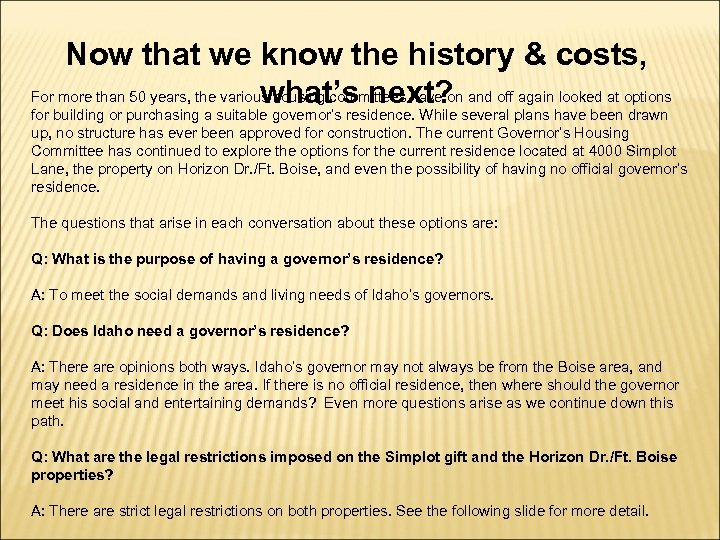 Now that we know the history & costs, For more than 50 years, the