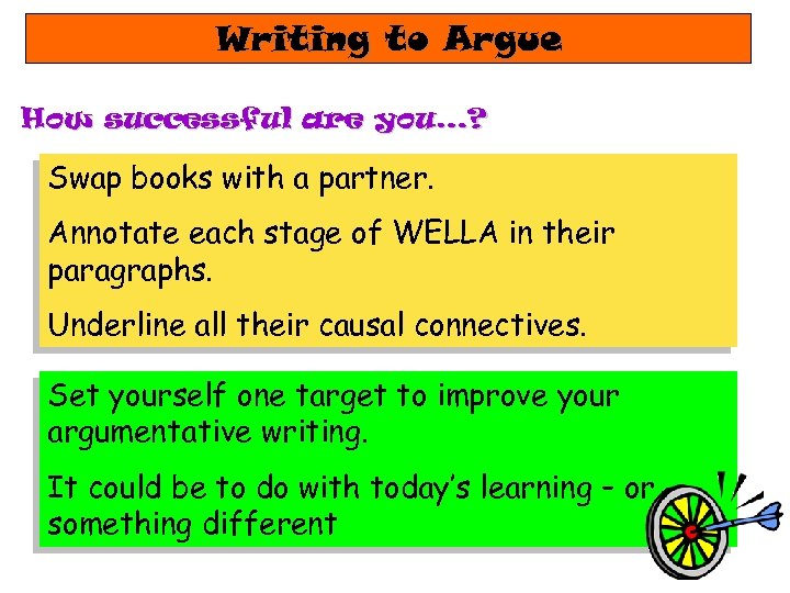 Writing to Argue How successful are you…? Swap books with a partner. Annotate each