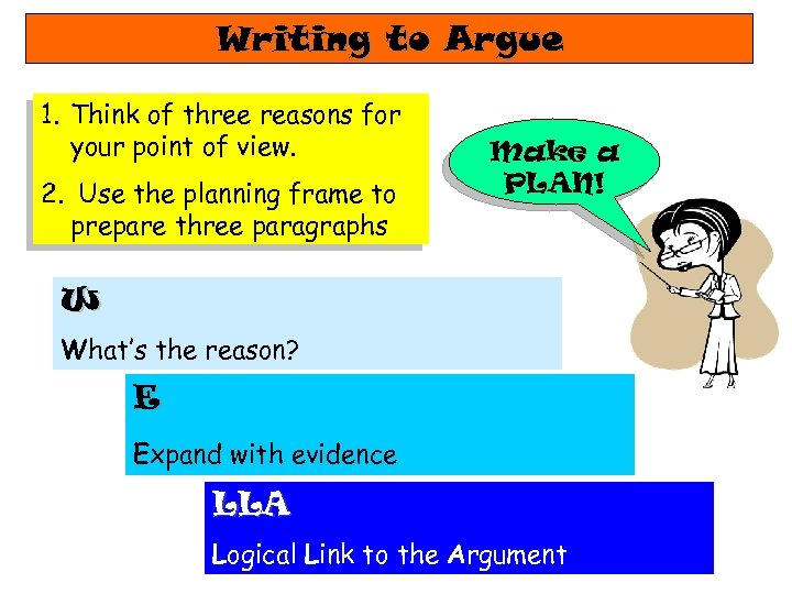 Writing to Argue 1. Think of three reasons for your point of view. 2.