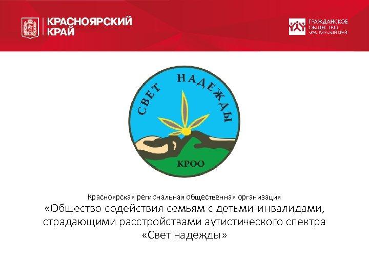 Красноярская региональная общественная организация «Общество содействия семьям с детьми-инвалидами, страдающими расстройствами аутистического спектра «Свет