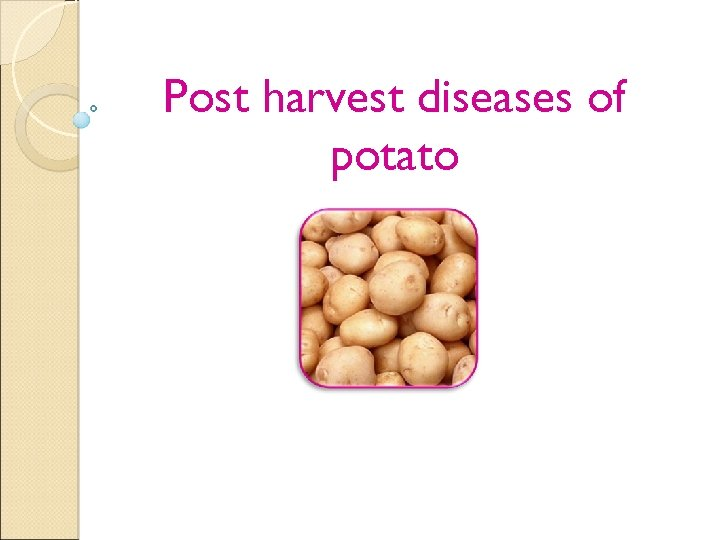 Post harvest diseases of potato