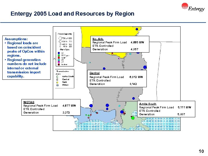 Entergy 2005 Load and Resources by Region Assumptions: • Regional loads are based on