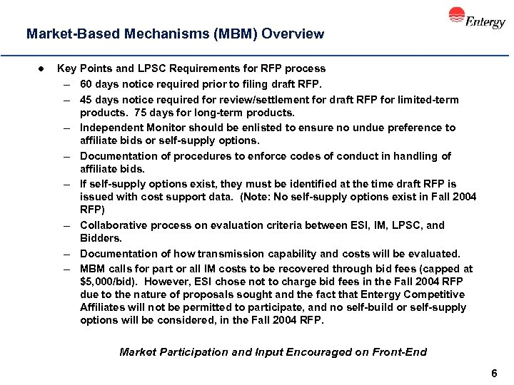 Market-Based Mechanisms (MBM) Overview l Key Points and LPSC Requirements for RFP process –