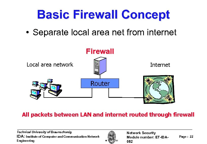 Basic Firewall Concept • Separate local area net from internet Firewall Local area network