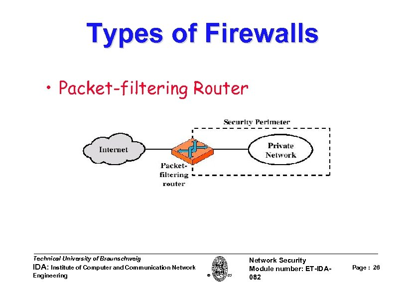 Types of Firewalls • Packet-filtering Router Technical University of Braunschweig IDA: Institute of Computer