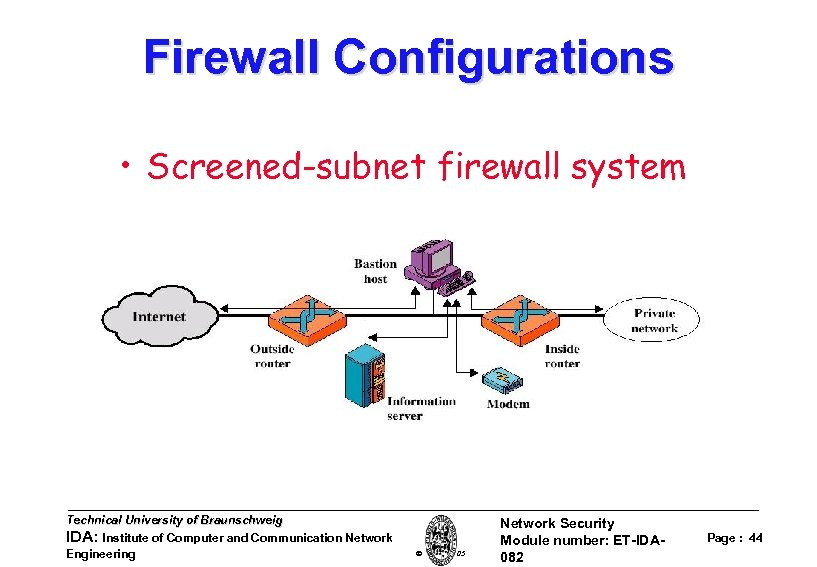 Firewall Configurations • Screened-subnet firewall system Technical University of Braunschweig IDA: Institute of Computer