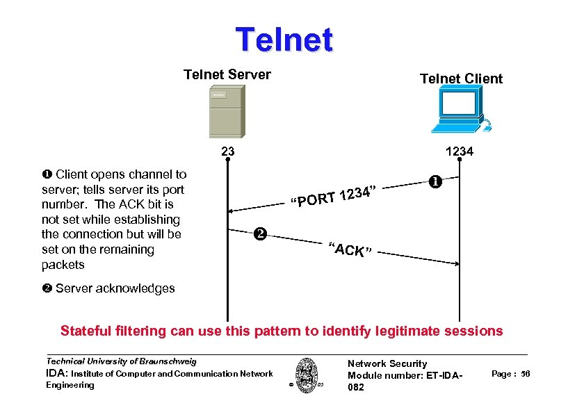 Telnet Server Telnet Client 23 1234 Client opens channel to server; tells server its