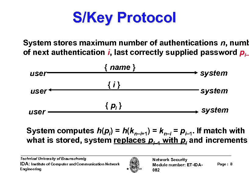 S/Key Protocol System stores maximum number of authentications n, numb of next authentication i,