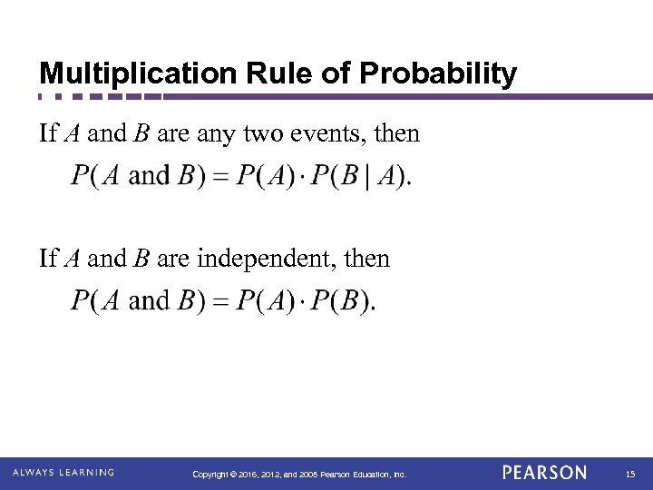 Multiplication Rule of Probability If A and B are any two events, then If